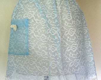 APRON Kitchen Pinafore Cook Chef Skirt Vintage Blue Organdy & Rose Needle Lace UNUSED NEW
