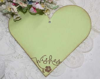 Wish Tree Wedding Tags - Wishes - Lime Green Heart - Birthday Wish Tags - Set of 25