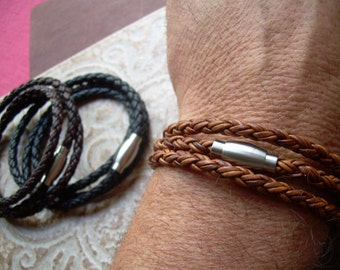 Mens Premium Leather Triple Wrap Leather Bracelet with Stainless Steel Magnetic Clasp , Mens Bracelet, Mens Jewelry