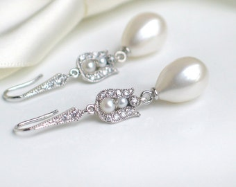 Large Teardrop Pearl Earrings | White Freshwater Pearl in CZ Pave Sterling Silver Dangles | Vintage Style | Tulip Roses | Bridal Jewelry