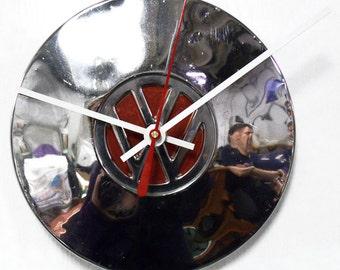 Volkswagen Hubcap Clock - VW Hub Cap with Red Center - Volkswagon