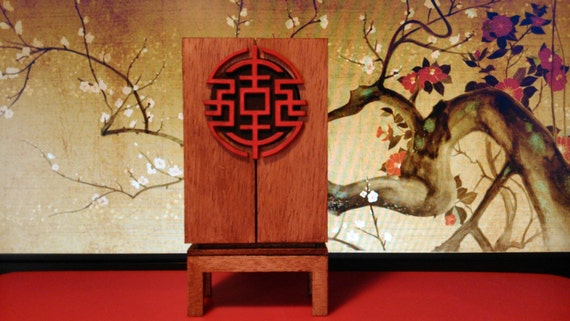Oriental furniture, wooden cabinet with red symbol, 1/12 miniature for dollhouses