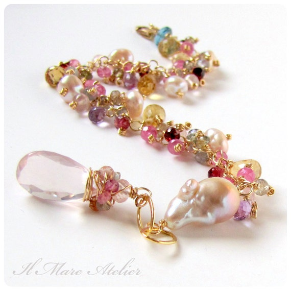 Sapphire, Pearl, Citrine, Garnet bracelet with Rose Quartz charm - Blush