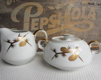 Vintage Golden Pine Sugar Bowl with Lid and Creamer