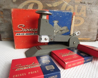 Vintage 1940s Swingline Speed Stapler No. 13 Heavy Duty in Box with Staples