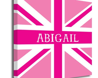 Pink union jack personalised Childrens canvas wall art picture kids name, wall decor