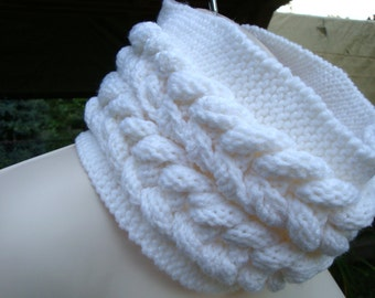 Winter Apparel, Chunky White Knitted Cable Cowl, Neck Warmer, Cowl Scarf Fashion Cable Scarf with Buttons
