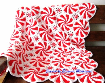 Made to order. Handmade Crochet blanket Christmas Peppermint, afghan granny squares 43 by 58 inch