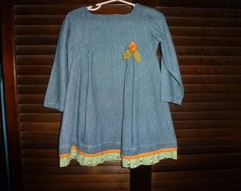 Vintage Munki Munki Heather Ross Gnome Dress Sz 3t Waldorf