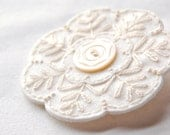 White Wool Embroidered Brooch