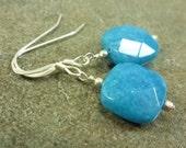 Blue Candy Jade Earrings Sterling Silver