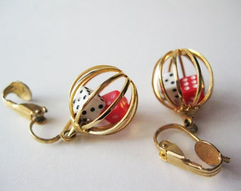 Dangly Dice Earrings, Clip Ons