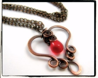 003 Copper Filigree Heart  Pendant with Red Czech Teardrop with Chain