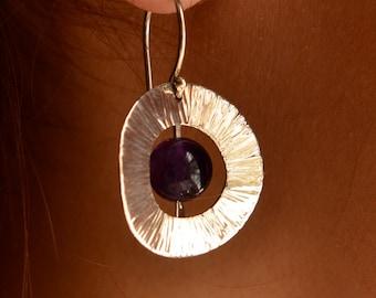 Deep Purple Sterling SIlver Dangle Earrings, Handmade in Maine