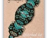 BP-GEO-018a -  Turquoise Jewels - Shaped Peyote Stitch Beadwork Pattern, Peyote Bracelet pattern, beadweaving tutorial, cuff pattern