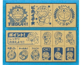 Doraemon Stamp Set in Wooden Box - 13 stamps