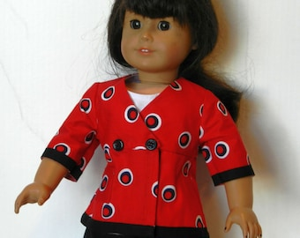 TC Red, White and Black Circle Print Jacket with White Tank and Black Pants Set - 18 Inch Doll Clothes fits American Girl