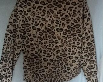 leopard print shirt blouse polyester Teddi size 12 petite animal print grunge 70s