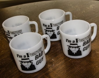 Four Vintage 1970s Anchor Hocking BAD GUY Mugs
