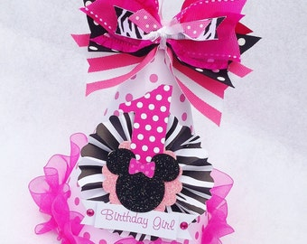 Zebra and Pink Minnie Mouse Birthday Party Hat