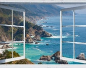Wall mural window, self adhesive -California open window view-3 sizes available-Big Sur-office decor-free US shipping