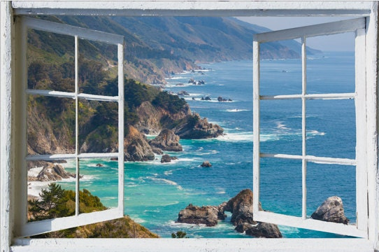 Wall mural window self adhesive california open window for Decoration murale fausse fenetre