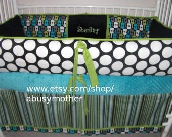 Baby Bedding Guitar  Teal black lime  Crib set
