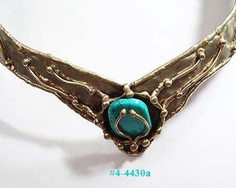 FREE SHIP Turquoise Open Dog Collar Necklace (4-4430)
