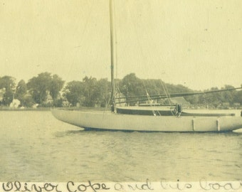 Oliver Cope and His Boat Sailboat Sailing Man on Water Antique Vintage Black and White Photo Photograph