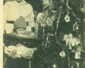 Christmas 1916 Baby Sitting in High Chair by Decorated Tree Ornaments Mother Antique Vintage Black and White Photo Photograph