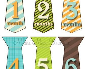 FREE GIFT, Monthly Baby Tie Stickers Boy Month Bodysuit Stickers Milestone Photo Prop Stickers Gift  Blue Orange Brown Green