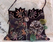 Upcycled Boho Gypsie Cross Body Evening Bag -  OOAK Small Gypsy Hobo Hippie Recycled, Refashioned Embroidered Purse