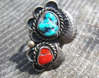 Vintage Native American Natural Turquoise ring - signed EM - SALE