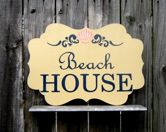 Beach House Sign, Painted Sign, Wood Sign, Plaque, Beach House Decor, Summer, Sand, Seashell, Tan, Navy Blue Lettering, Painted Seashell