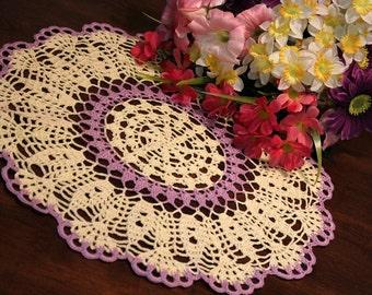 Beautiful Purple and Cream  Crochet  Doily