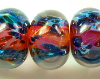 Handmade lampwork boro glass beads supplies boro bead set of 6 pink purples and blue sparkle unique sra lampwork glass by Paulbead