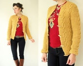 Split Pea Cable Knit Button Up Cardigan Sweater / 70's Vintage Toggle Jacket