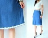 80's Vintage Cobalt Blue High Waist Knit Skirt / Sweater Midi Skirt / Angora Hem