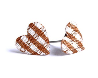 Chocolate cocoa brown plaid heart fabric hypoallergenic stud earrings (350) - Flat rate shipping
