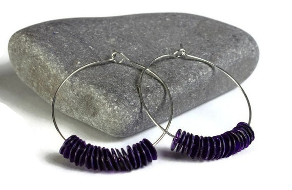 Purple violet mauve sequins hoop earrings (638) - Flat rate shipping