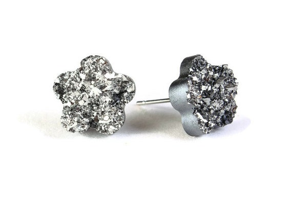 Black silver textured flower stud earrings - Faux Druzy earrings - Textured earrings - Faux drusy earrings (783) earrings