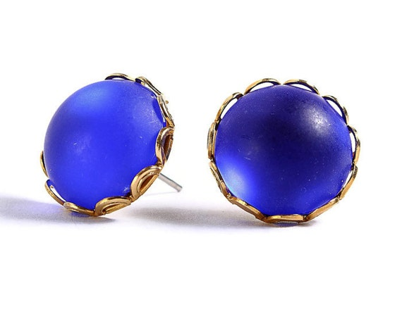 Matte frost cobalt blue hypoallergenic surgical steel post earrings (409) - Flat rate shipping