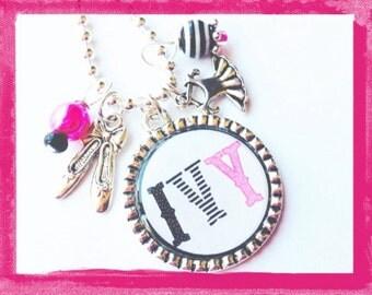 Ballet Pendant  Necklace Personalized Cameo Set Necklace for little Girls -  DANCE DANCE DANCE - Custom Pendant