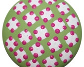 Green With White, Pink Polka Dots Dresser Drawer or Cabinet Knobs-FREE Gift Wrap
