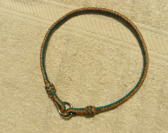 Braided Kangaroo Leather Tag/ID Collar - 8 Strand,  Pineapple Knots - Made To Order