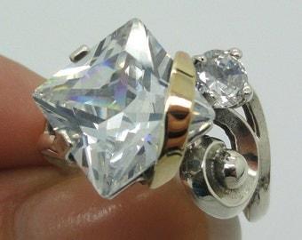Great Handmade 9K Yellow Gold Sterling Silver white CZ ring (sr2422)