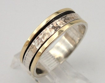Fabulous unisex 9K Yellow Gold Sterling Silver Swivel Band / Ring size 9.5 (d r10180)