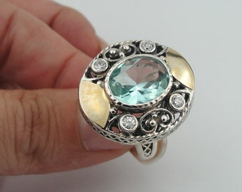 Vintage 9K Yellow Gold Sterling Silver Aqua CZ Ring size 8 (s r2250)