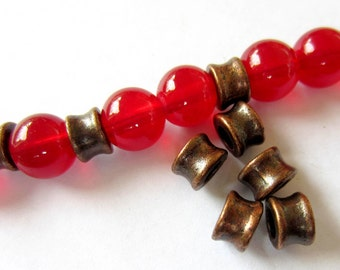 36 Red copper spacers beads 6mm x 4.5mm antique copper bead tibetan style jewelry findings RLF92-W6