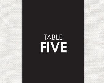 printable wedding table number cards 5x7 - classic smart elegant black and white, table cards, reception decor, instant download diy wedding